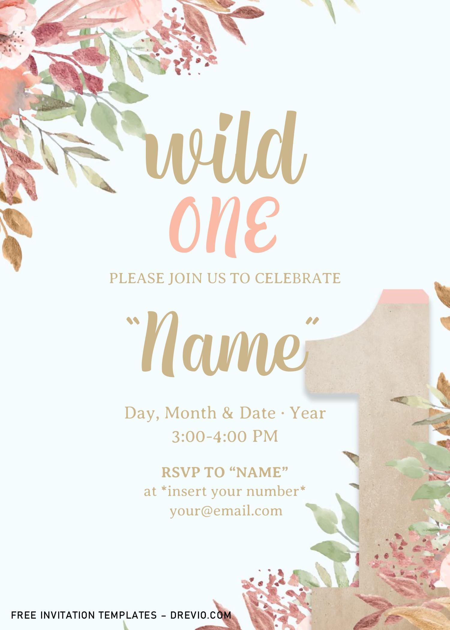 free wild one baby shower invitation