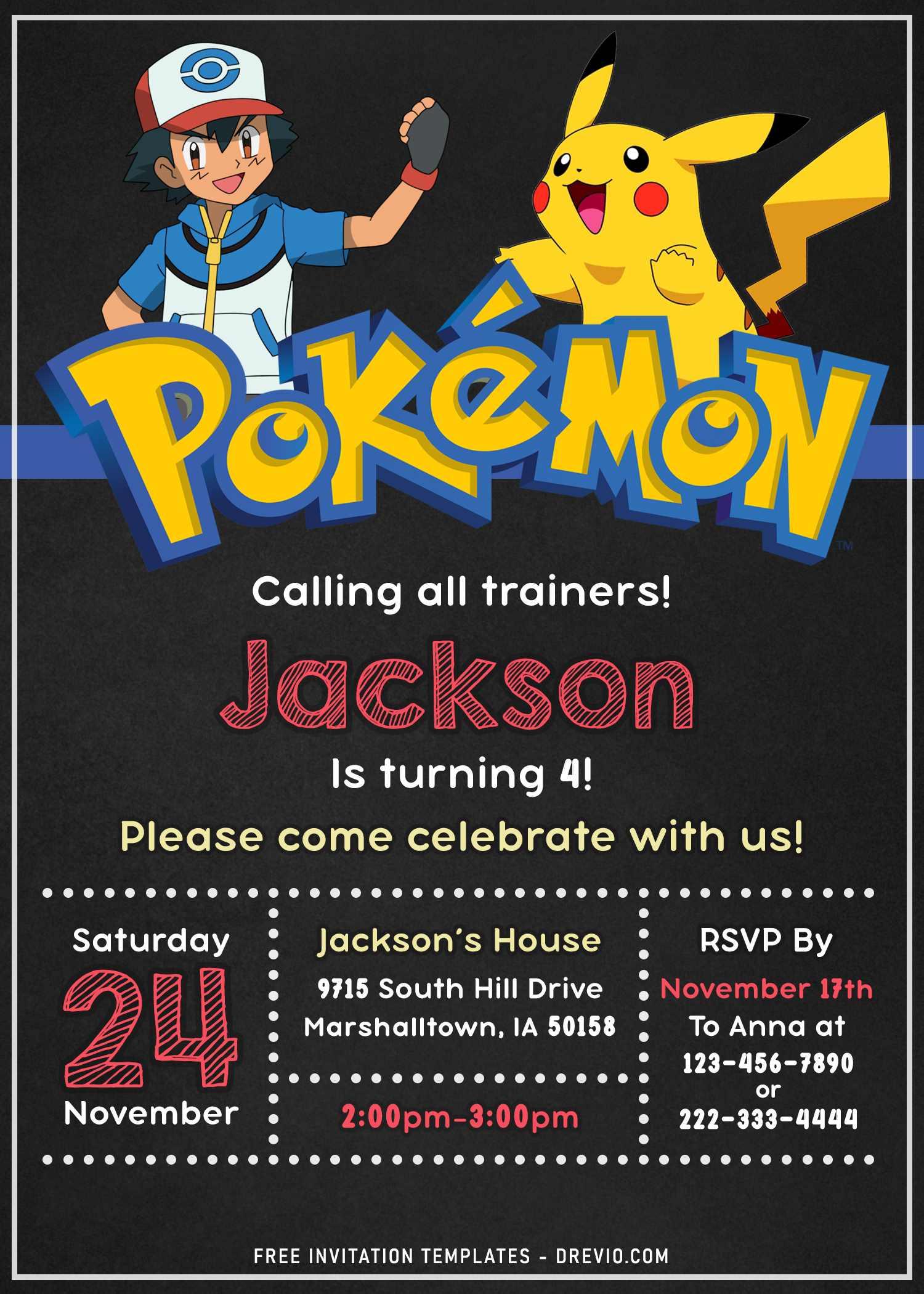 11 pokemon birthday party invitation