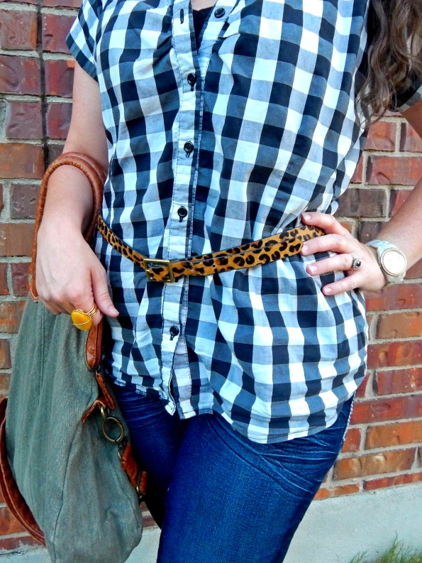 Gingham Blouse Belted