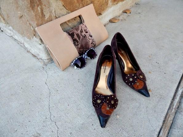 Charming Charlie Snakeskin Clutch Polka Dot Sunglasses Target Isaac Mizrahi Flower Heels