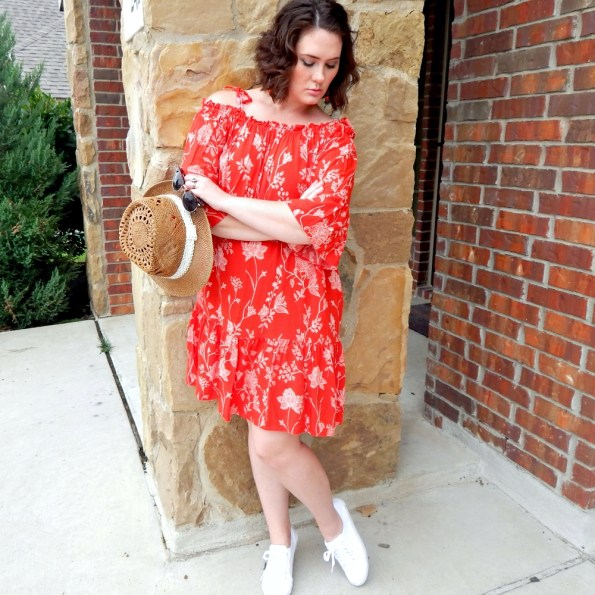 Floral Red Peasant Dress H&M