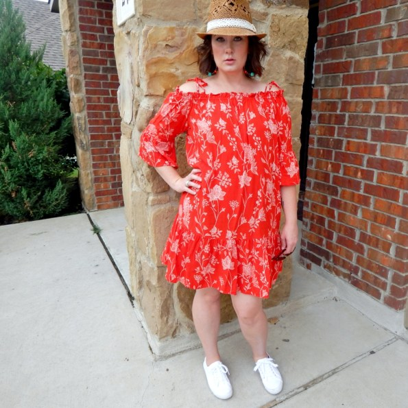 H&M Red Floral Peasant Dress