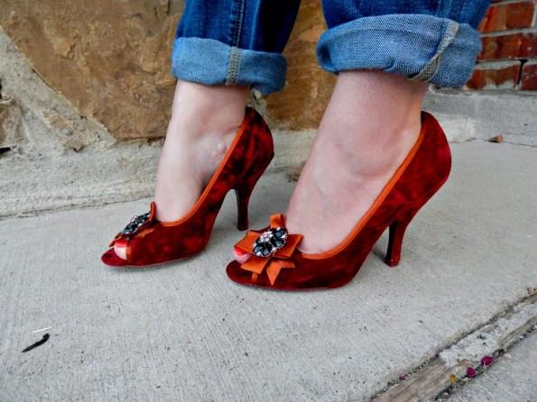 Red Velvet Peep Toe Pumps Poetic Licence & Boyfriend Jeans New York & Company