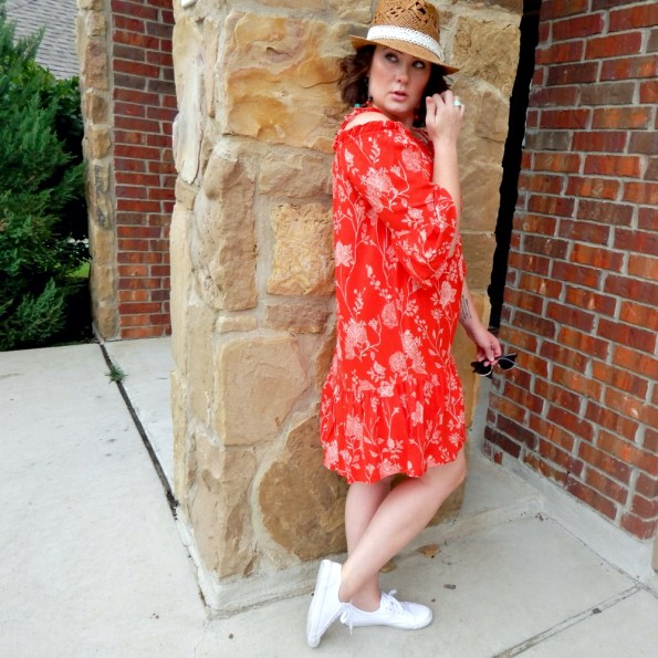 Straw Fedora with H&M Red Off Shoulder Dress