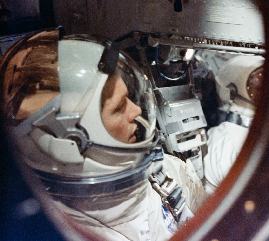 eaf942f148 A view of David Scott inside Gemini 8. Note the gold-plated sun visor  fitted to his helmet for his planned EVA. (NASA)