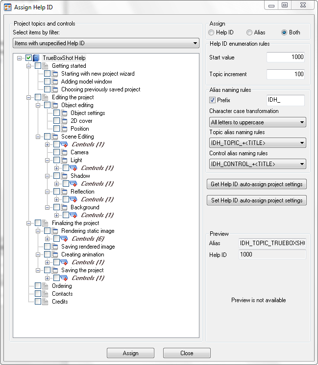 Automatic Help ID assigning and importing