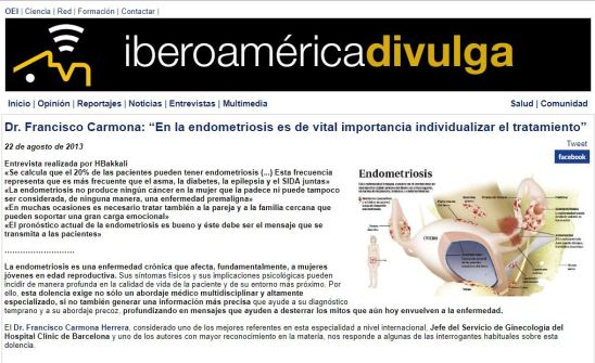 2013-08-22. Iberoamérica Divulga. En la endometriosis es de vital importancia individualizar el tratamiento