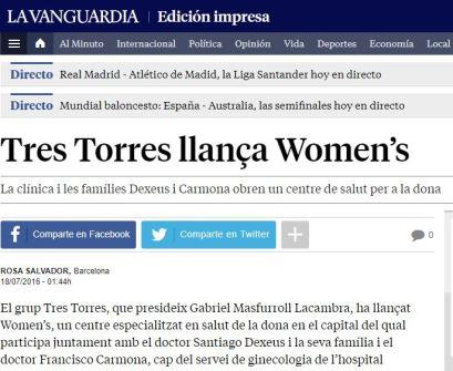 2016-07-18. La Vanguardia. Tres Torres llança Womens