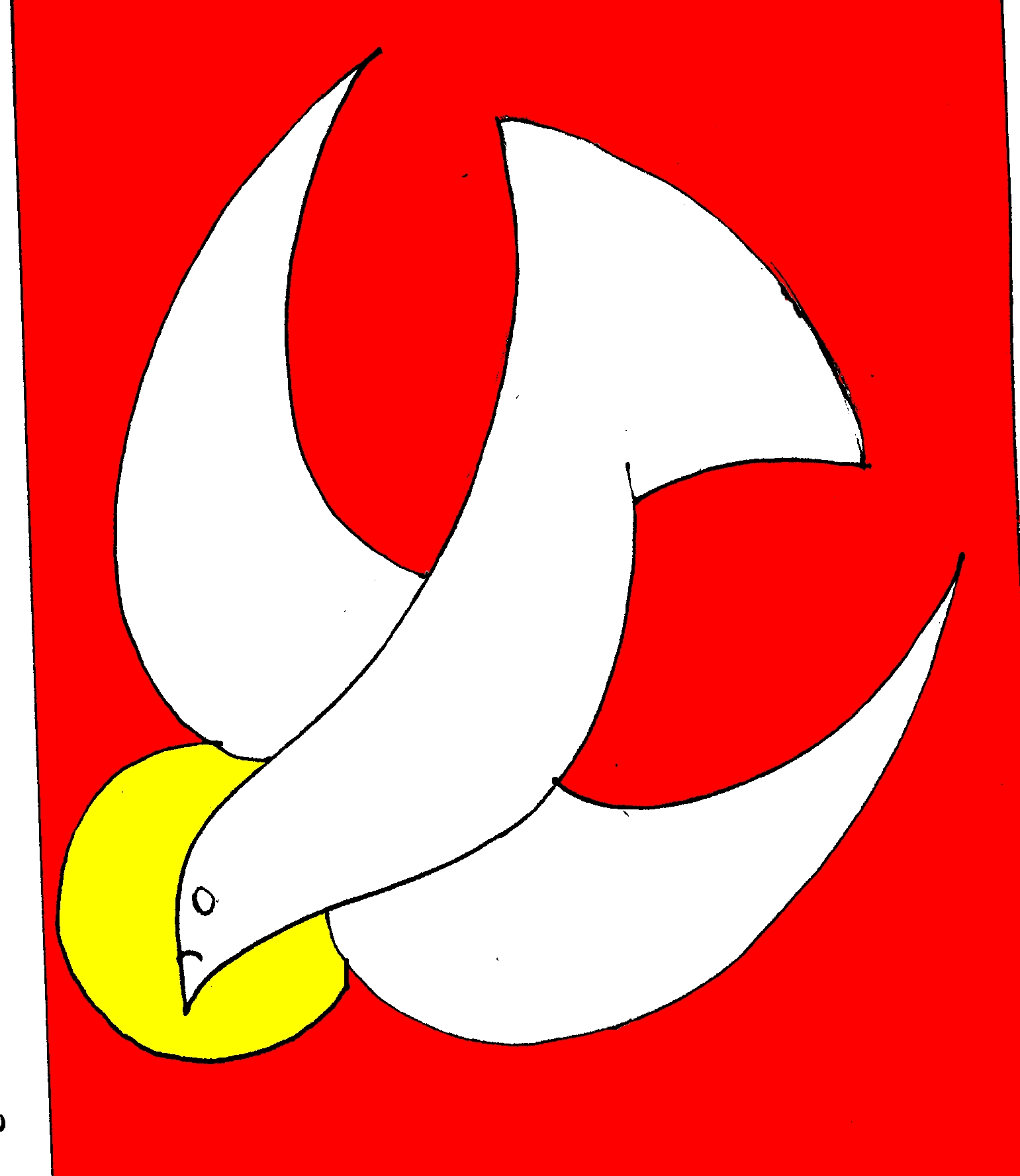 Holy Spirit as Dove on red background