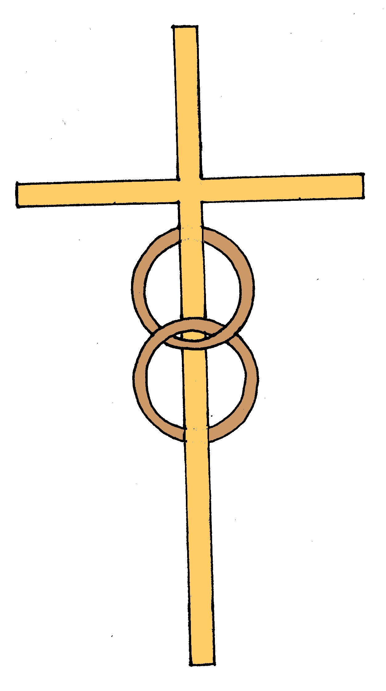 Two wedding rings around a gold cross