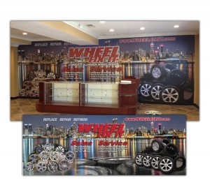 drgli wfi showroom counter wall design print work