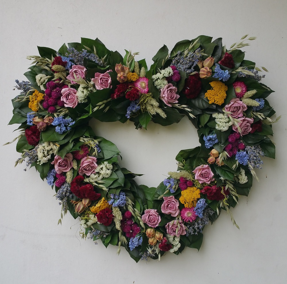 Summer Garden Heart Wreath Dried Flower Wreaths