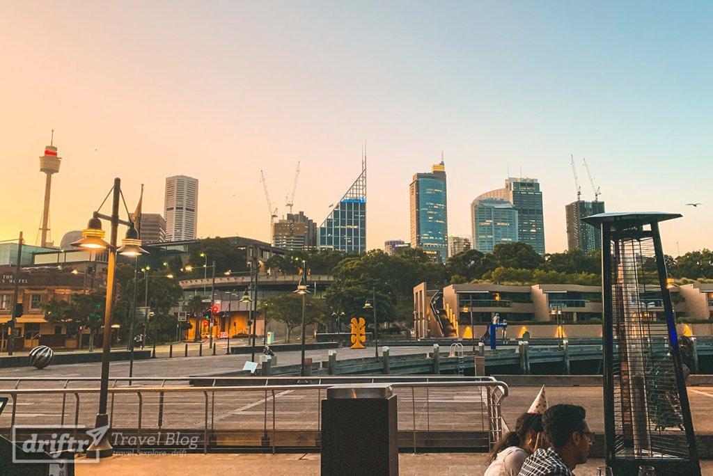 Ausblick auf die Skyline Sydneys bei Dämmerung