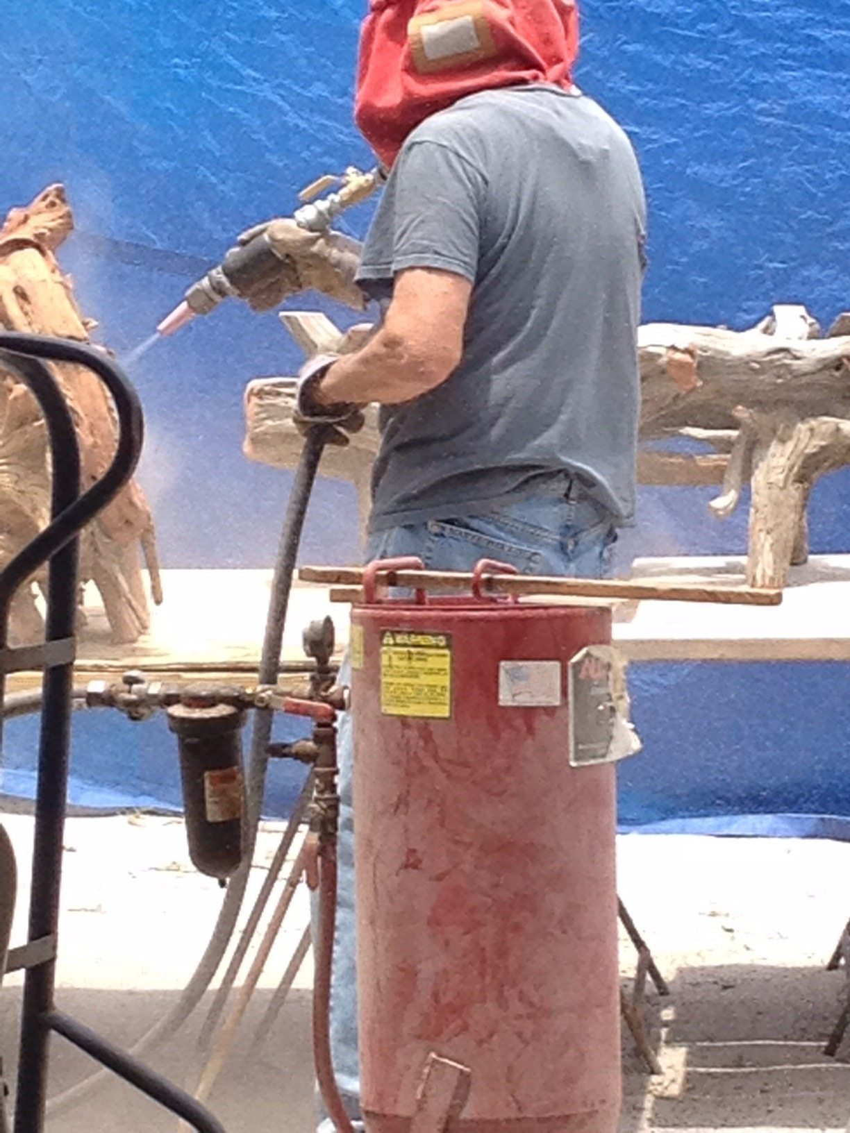 Sandblasting my driftwood tables