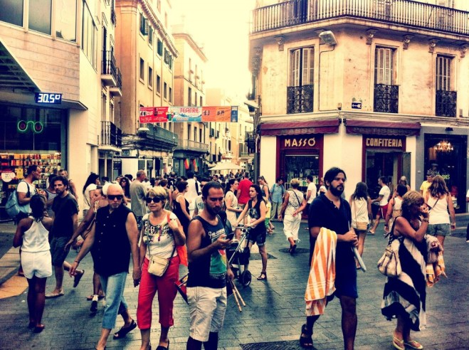 People celebrating Catalonia day in Sitges, Barcelona
