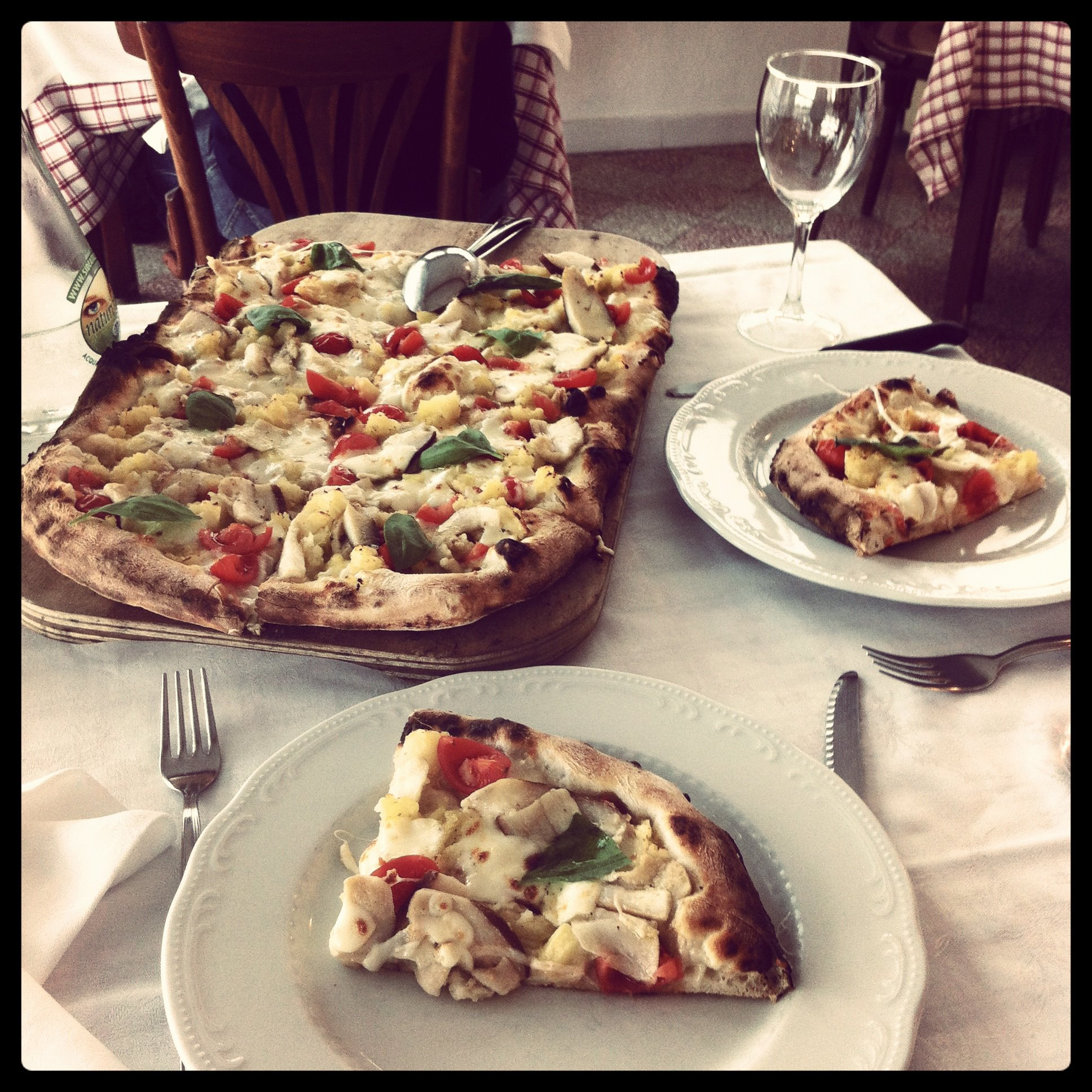 The most beautiful pizza ever - in a restaurant in Praiano on the Amalfi Coast, Italy