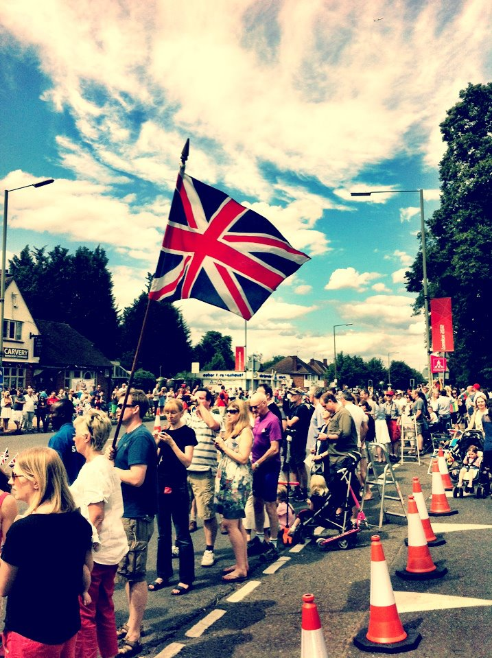 British flag flying at the road cycling event during the 2012 summer london Olympics