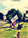 Family having a picnic and supporting the men's road racing at the 2012 London Olympics