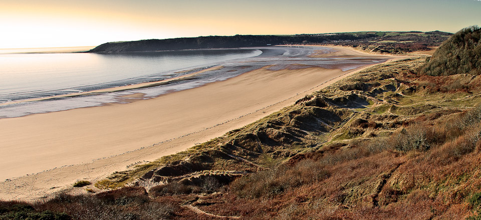a photograph of Oxwich bay on the Gower Peninsula, Wales