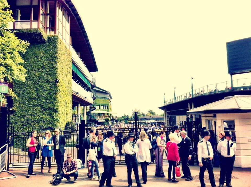 police guarding the gates of Wimbledon tennis grounds 2013