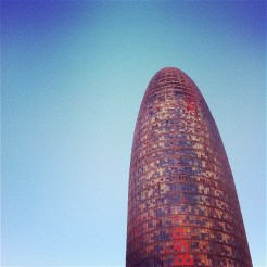 Torre Agbar colourful building in Encants, Poblenou Barcelona