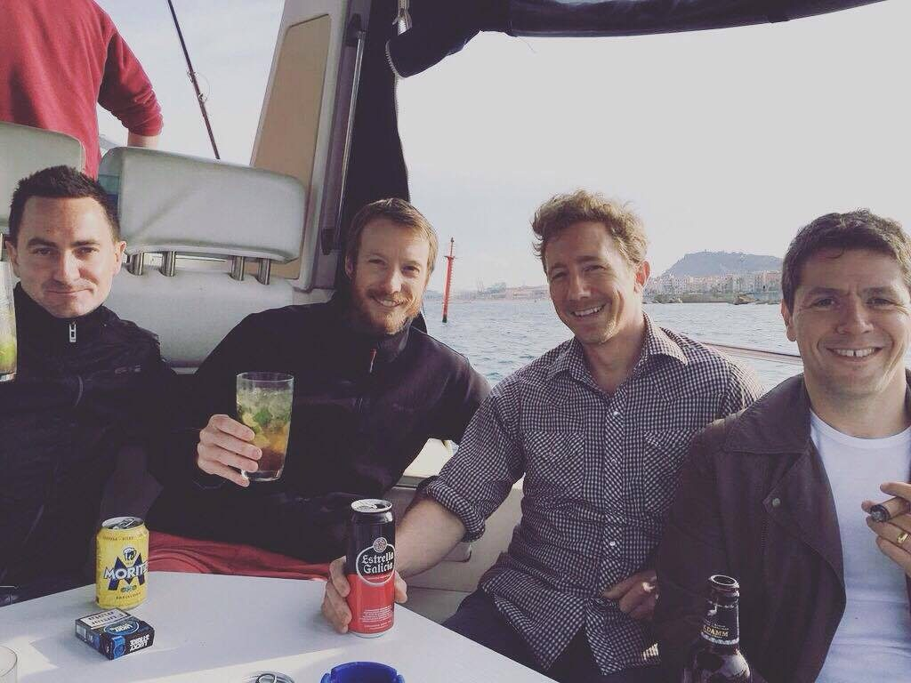 Mojitos and new mates on Minerva boat in Barcelona