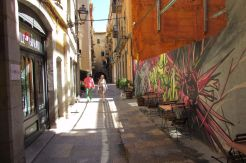 Street art in the streets of Girona city in Catalonia