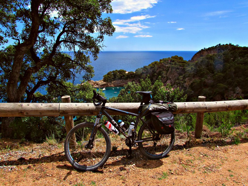 Cycling along the Costa Brava coast with sea views