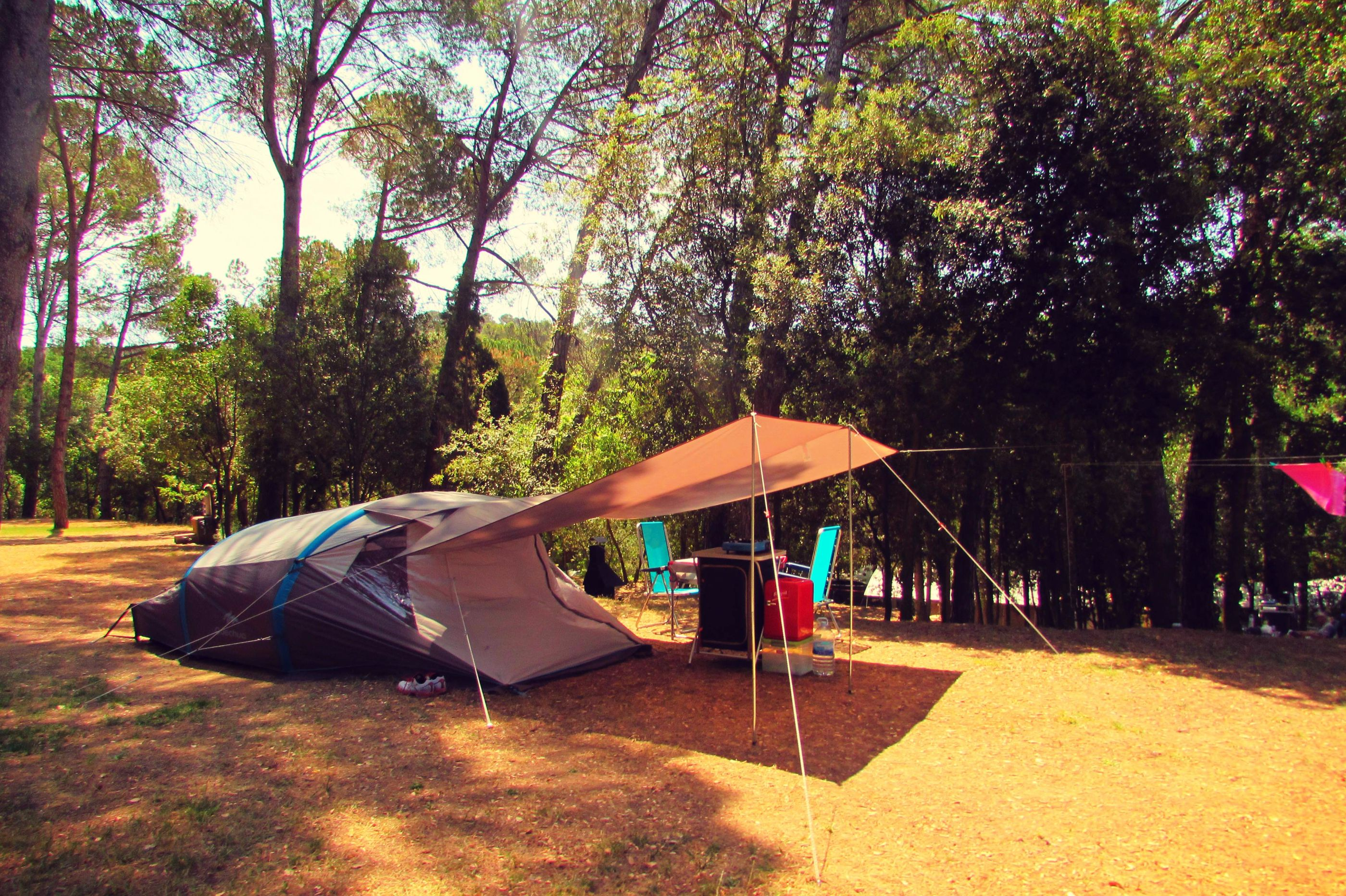 Campng Begur with family tent, Costa Brava, Catalonia