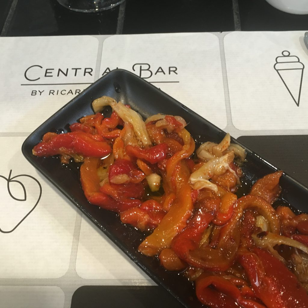 Esgarraet (Roasted Peppers and Salt Cod) at Central Bar in Central Market in Valencia, Spain