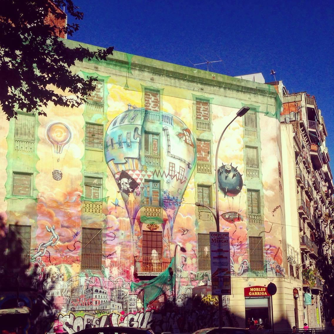The graffiti-enhanced La Carboneria building in Barcelona's trendy Sant Antoni neighbourhood.