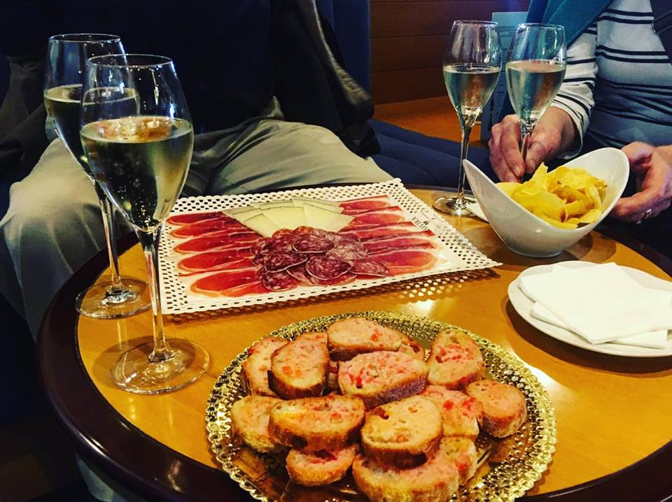 Cava and tapas at Freixenet Wine Tasting in Penedes outside of Barcelona
