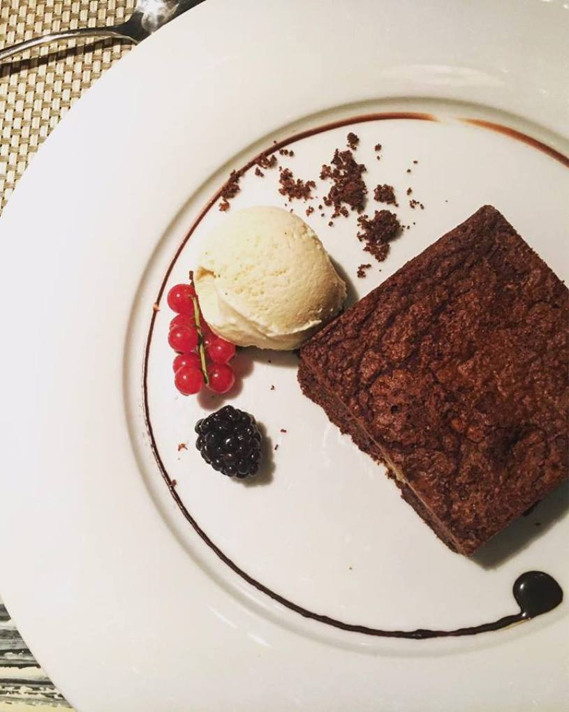 Chocolate brownie at Gran Hotel La Florida Hotel in Barcelona