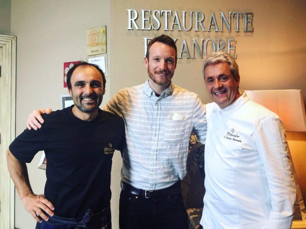 Ben with chefs from Restaurant Etxanobe in Bilbao