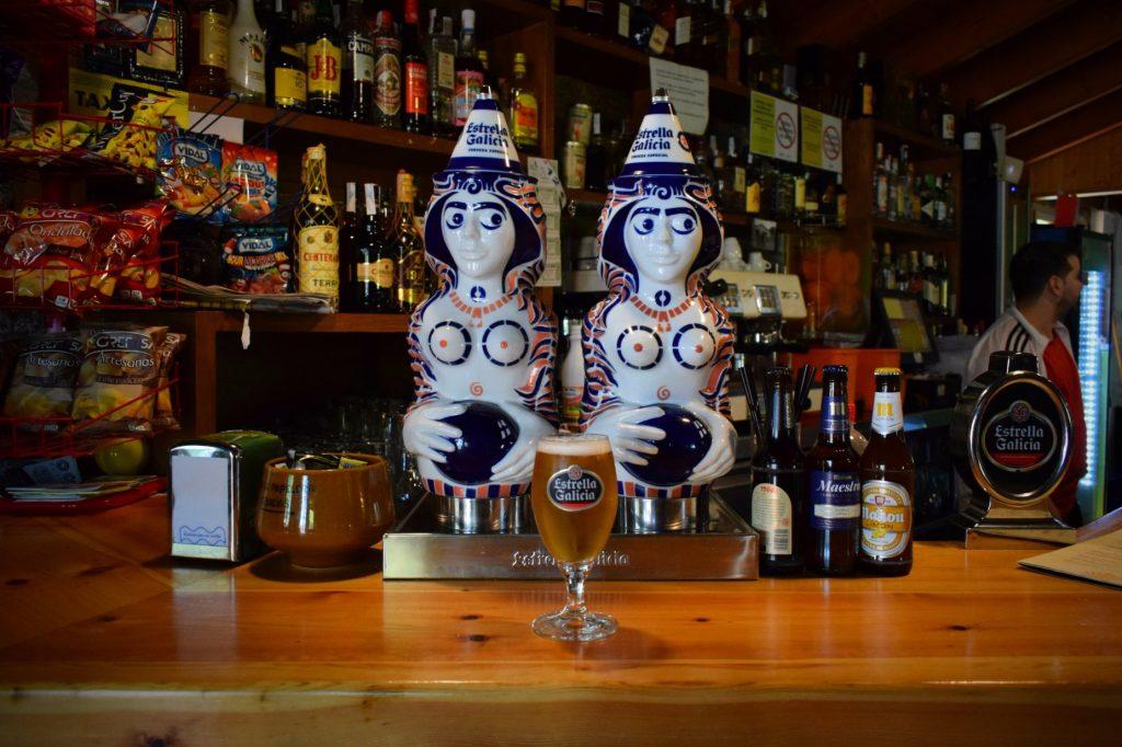 Drinking Estrella Galicia on the Camino de Santiago in Northern Spain