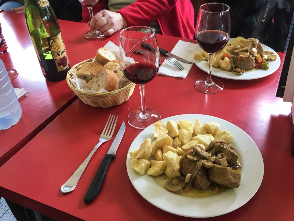 Menu del Perigrino Camino de Santiago Bar Gonzar