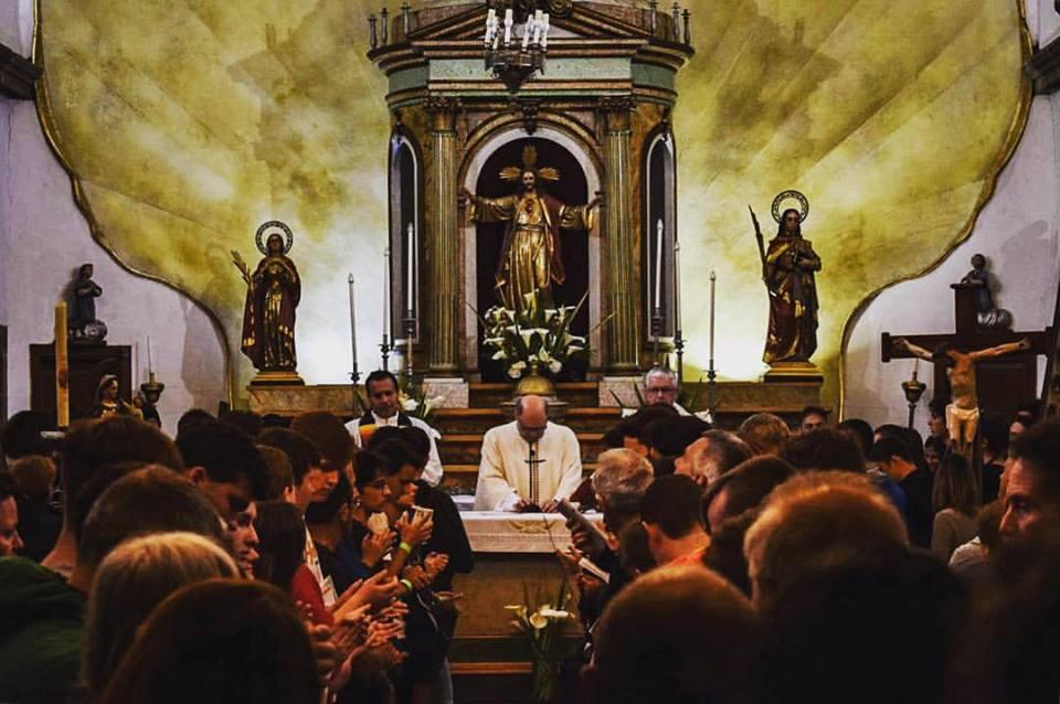 PIlgrims' mass in Pedrouzo on the Camino de Santiago