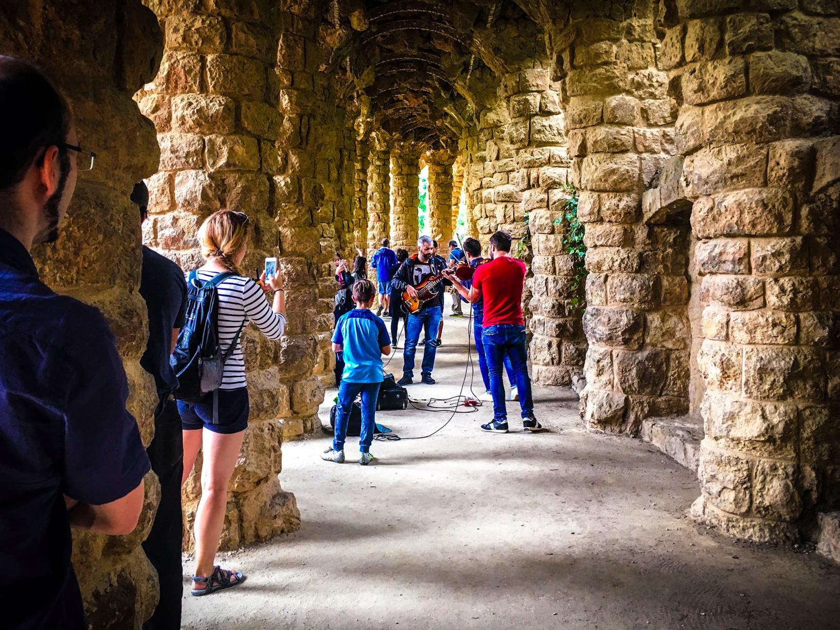 Antoni Gaudi's Parc Güell - Famous arches where live musicians play
