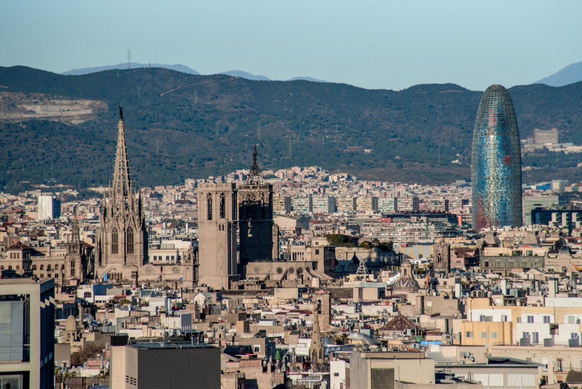 Barcelona cathedral and torre agbar tower