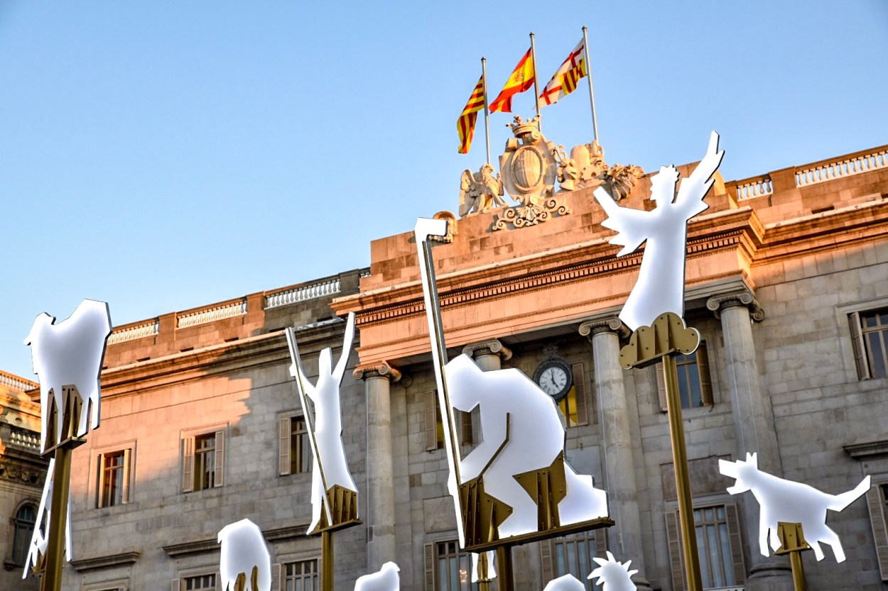 Quirky Christmas Traditions in Barcelona Placa Jaume Christmas decorations Barcelona