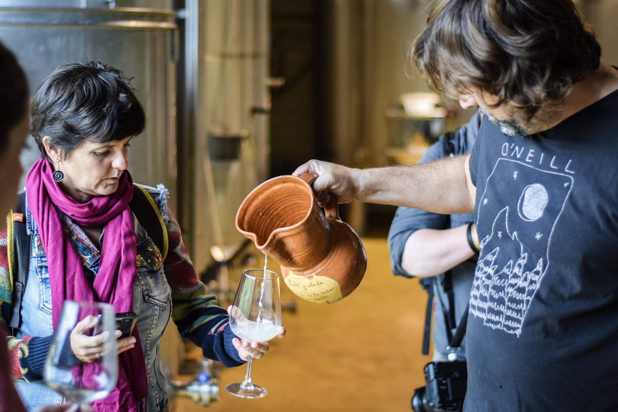 Sipping Cantabrian wine at Bodegas Vidular, Cantabria.