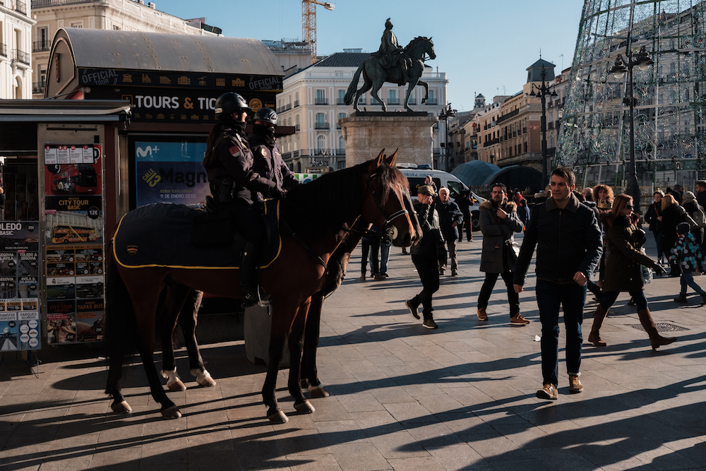 Spanish police horses in Puerta del Sol, Madrid Street Photography Essay - by Ben Holbrook DriftwoodJournals.com-8834