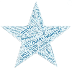 Star shape featuring job titles in substance misuse field