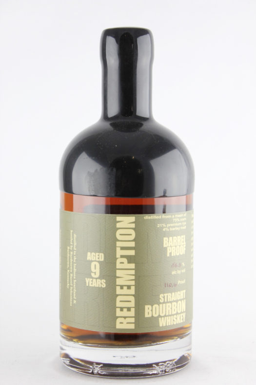 redemption bourbon aged barrel proof 9 years old