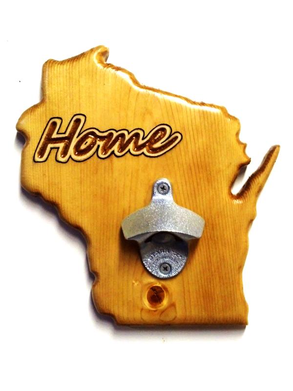 Wisconsin Bottle Opener - Pecan
