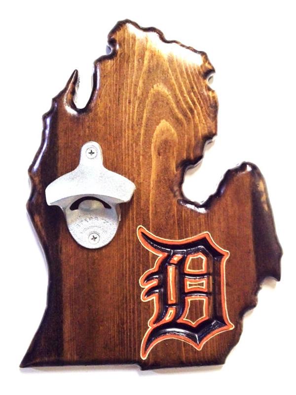 Detroit Tigers Bottle Opener - Dark Walnut
