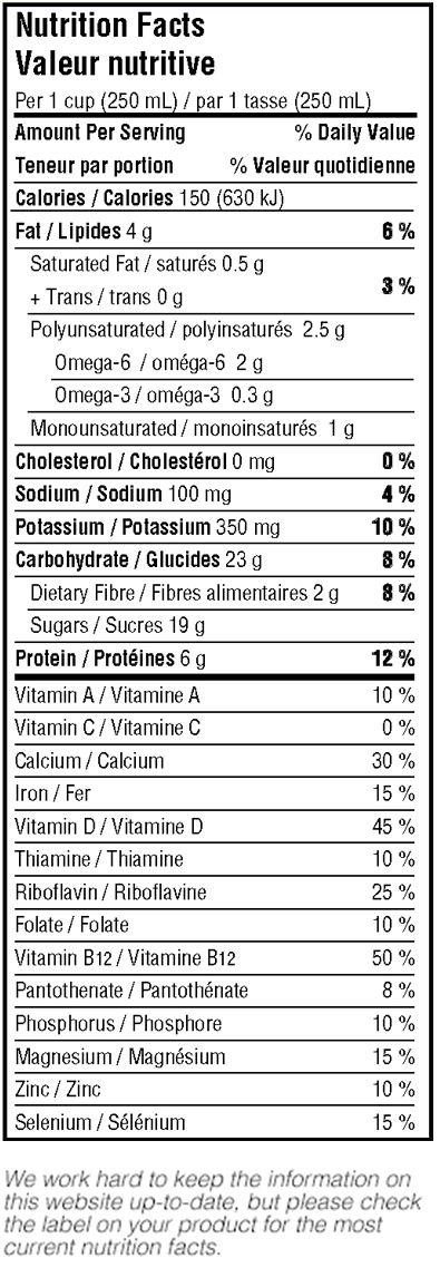 Silk Milk Nutrition Information