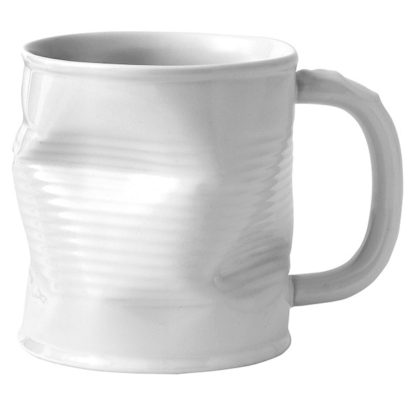 Squashed Tin Can Mug White 113oz  320ml  Squashy Mugs