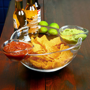 Chip and Dip Bowl with 2 Side Dip Dishes