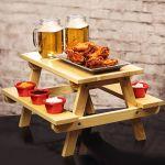 Miniature Pine Picnic Bench Serving Platter Drinkstuff